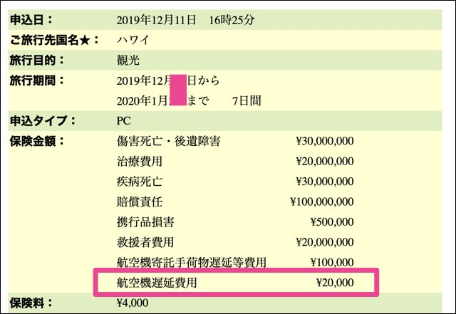 損保ジャパンの飛行機遅延費用